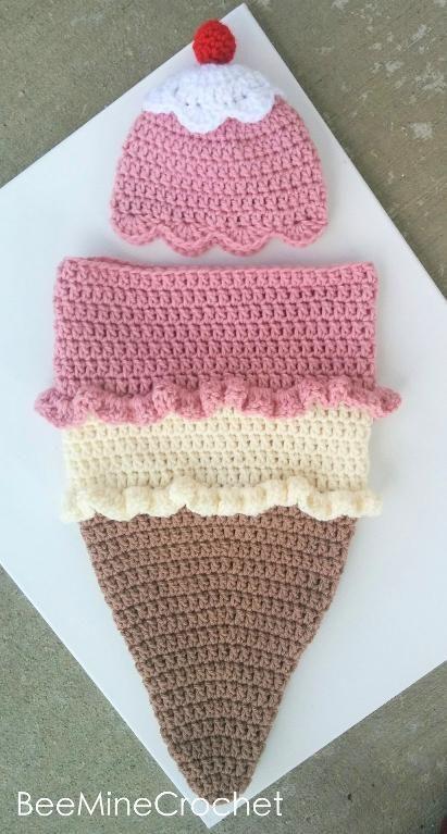 (4) Name: 'Crocheting : Newborn Crochet Ice Cream Cone Cocoon: