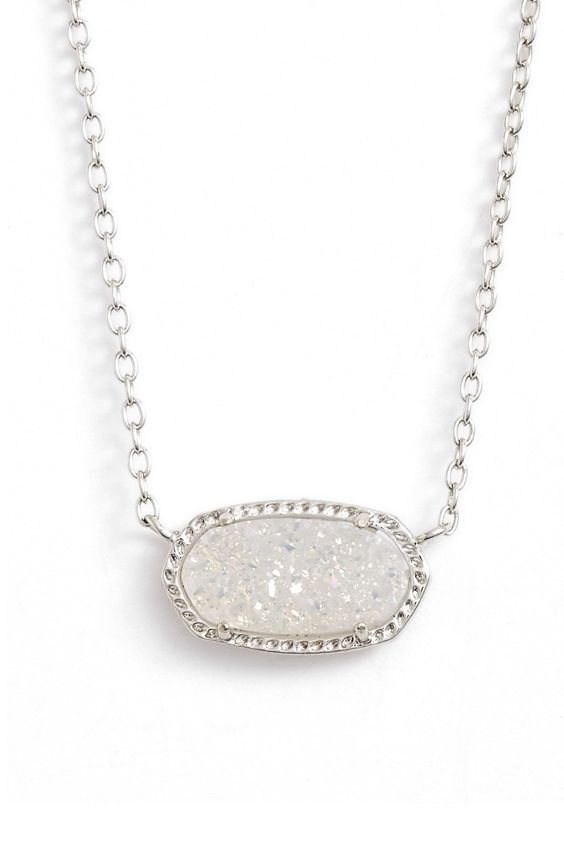 Kendra Scott 'Elisa' Pendant Necklace - Iridescent Drusy/ SIlver