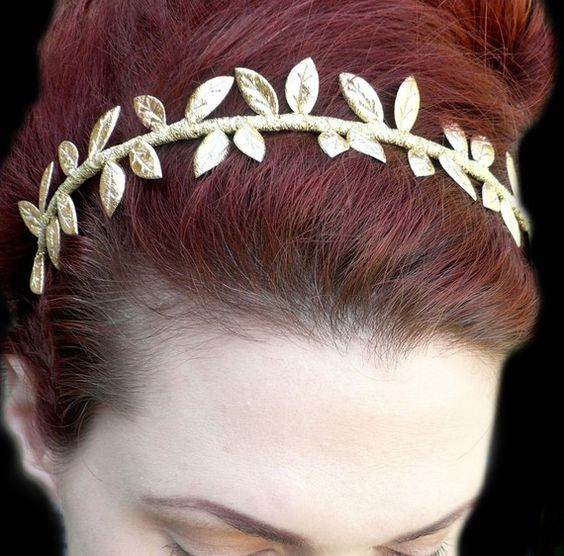 Grecian Goddess Golden Leaf Crown Headband by RoseoftheMire // $36.00