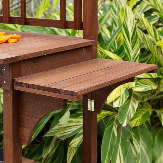 Solid Wood Potting Bench With Flip Up Sides Garden Tool Shelf In Cinnamon Gardens Tools And