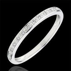 Alliance Eclats de diamant - or blanc et diamants (Alliances Mariage) : bijoux edenly