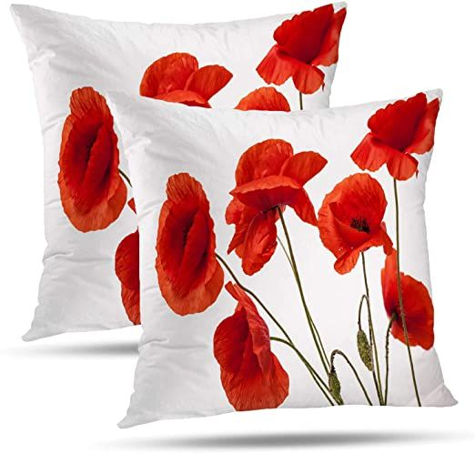 Batmerry Spring Pillows Decorative Throw Pillow Covers 18x18 Inch Set Of 2 Poppy Flowe In 2020 Spring Pillows Decorative Throw Pillow Covers Throw Pillow Covers 18x18