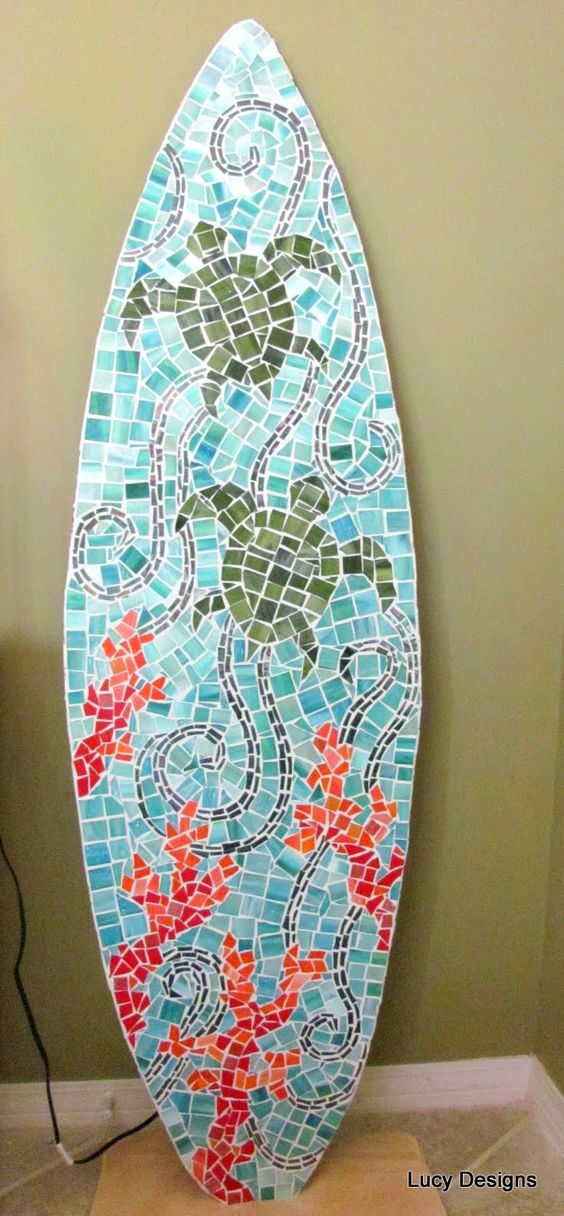 Surfboard  Sea Turtles with Coral by Lucy Designs