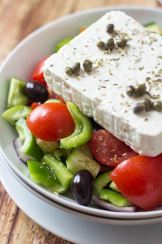 Classic Greek Salad - made the REAL Greek way   http://thewanderlustkitchen.com/classic-greek-salad-horiatiki/