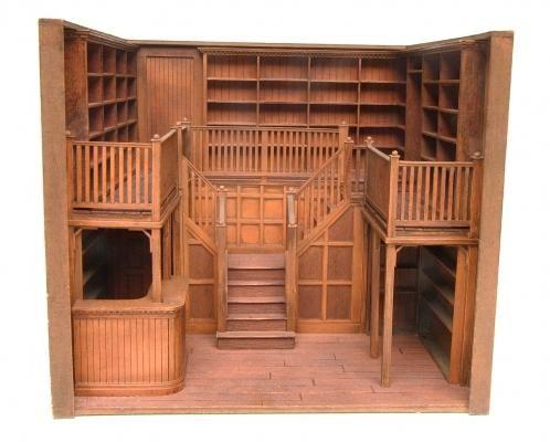 Prototype Oak Library 1:24 scale   Stewart Dollhouse Creations