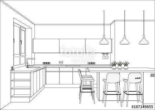 D Vector Sketch Modern Kitchen Design In Home Interior Kitchen Sketch With Decorations And Interior Design Kitchen Kitchen Remodel Design Kitchen Drawing