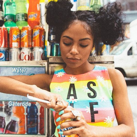 professionalignorance:  londonzhiloh:  thirsty? | @karmaloop shot by: @onlunchbreak  . Space buns natural hair