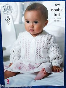 Babys Double Knit Lacy Cardigan Blanket Waistcoat Knitting Pattern 12 - 22 Inch