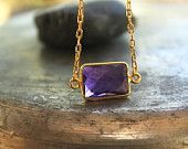 Gold Necklace Amethyst Necklace  Bridesmaid Gift Bridal Necklace
