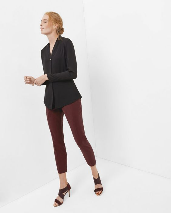 V-neck blouse - Black | Tops & T-shirts | Ted Baker ROW