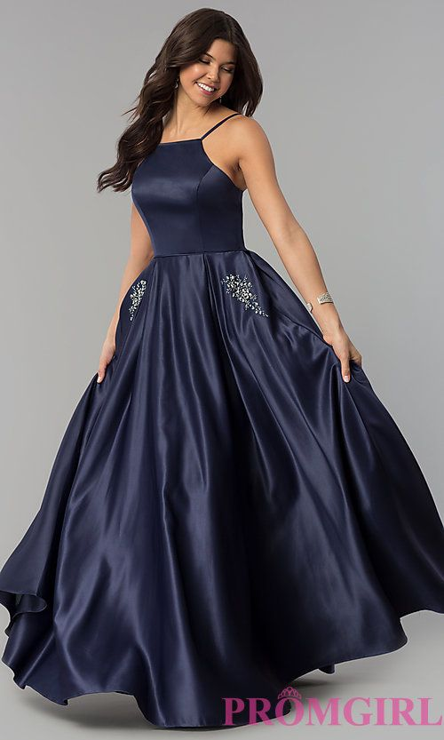 Long Prom Dress With Rhinestone Trimmed Pockets Long Sleeve Evening Dresses Dresses Formal Dresses Long