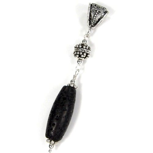 Black Lava Pendant Gemstone Barrel Large Hole Sterling Silver Bail | Covergirlbeads - Jewelry on ArtFire @Charlotte Hayes