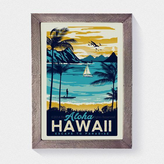 Il sagit doeuvres dart originales 100 % Hawaii Retro Vintage voyage affiche Surf Palm arbres sérigraphie  main sérigraphié 3 couleur design. • OEUVRE TAILLE EST DE 12 « X 18 » • IMPRIMÉ SUR BLANC LOURD FROID PRESSÉ PLANCHE GRAPHIQUE (TRÈS ÉPAIS) • SÉRIE LIMITÉE DE 50 TIRAGES SIGNÉS ET NUMÉROTÉS !   CADRE PAS INCLUS MAIS PEUT ÊTRE ACHETÉ ICI ! https://www.etsy.com/listing/187879338/real-beach-wood-frame-16-x-22-fits-any?ref=shop_home_active_6  * Filigrane napparaît pas sur la réelle print.*