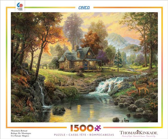 """Mountain Retreat is a 1500 piece jigsaw puzzle from Ceaco featuring artwork by Thomas Kinkade. Puzzle measures 32"""" x 24"""" when complete.View more puzzles from Thomas Kinkade"""
