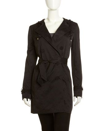 Packable Hooded Trenchcoat, Black by T Tahari at Neiman Marcus Last Call.