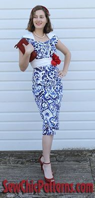 Ginseng pattern bodice with skirt from Fifth Avenue dress pattern