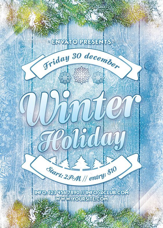 Winter Holiday Flyer  Winter Holidays Flyer Template And Holidays