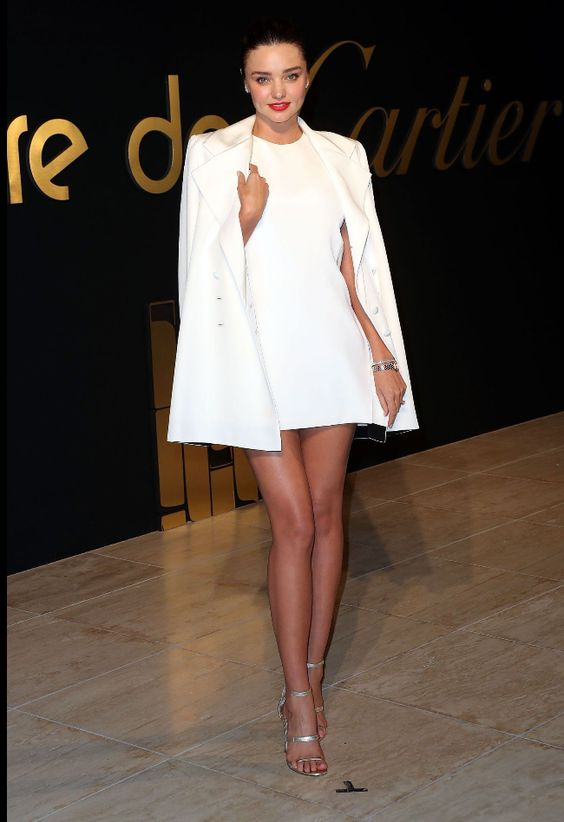 Miranda Kerr rocks a chic marble white ensemble at the Cartier watch launch