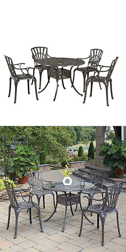 Home Styles 5561 308 Largo 5 Piece Outdoor Dining Set With 42 Table And Four Arm Chairs Outdoor Dining Set Home Styles Outdoor Dining