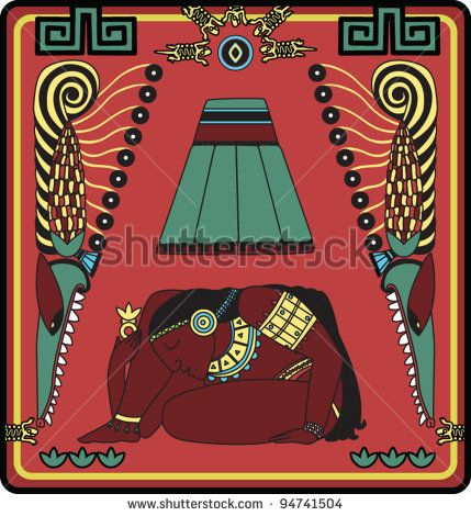 Initial capital letter A Aztec style illuminated letter