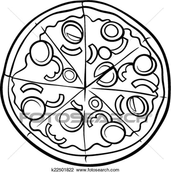 Clipart Of Italian Pizza Cartoon Coloring Page K22501822 Search Clip Art Illustration Murals Drawings Pizza Coloring Page Food Coloring Pages Pizza Drawing