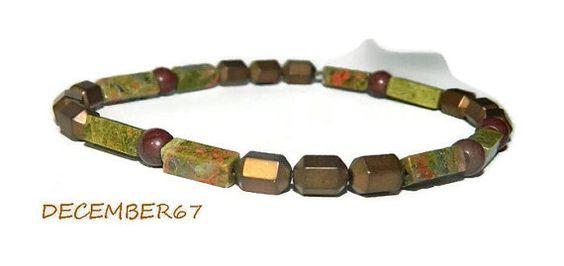Mens Bracelet Hematite Stretch Bracelet by JewelrybyDecember67