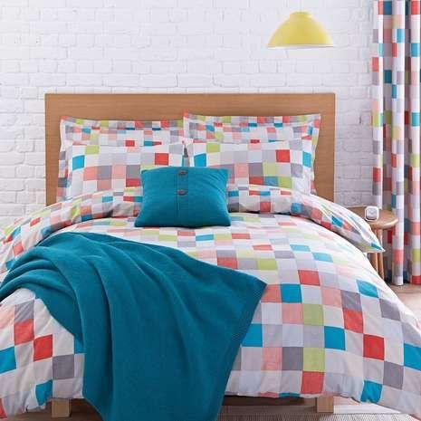 Elements Teal Pixel Bed Linen Collection | Dunelm