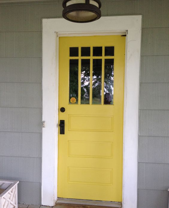 Yellow front door by Valspar, Fall Meadow
