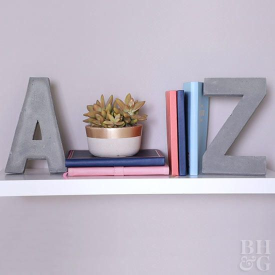Add Style To Your Shelves With Diy Letter Bookends Diy Bookends