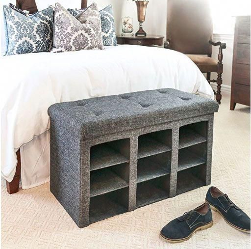 12 Super Easy Bedroom Organization Ideas To Save Tons Of Space Shoe Storage Ottoman Shoe Storage Ottoman Diy Small Bedroom
