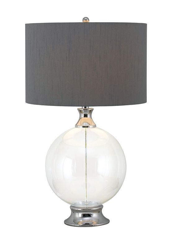 Celestial's Table Lamp - An instant eye-catcher, the clear glass orb at Celestial's base makes it a perfect choice for a contemporary room. A Gray drum shade adds warm texture.
