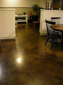 Clean Concrete Floors Stains Dark Brown And Cleanses