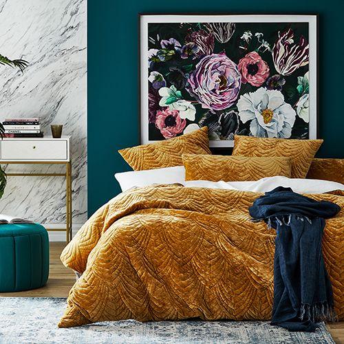 Carraway Quilted Velvet Gold Quilt Cover Velvet Duvet Yellow Bedding Teal Bedding