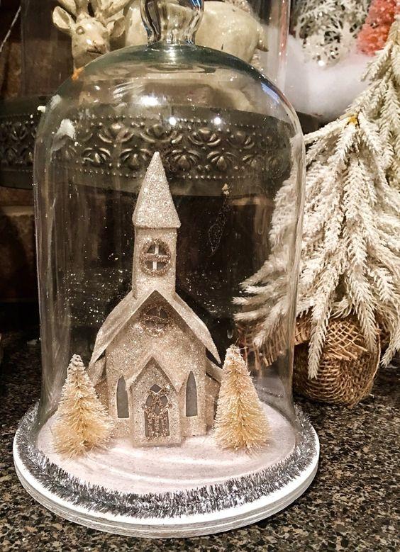 Glittery church in cloche for Christmas decor