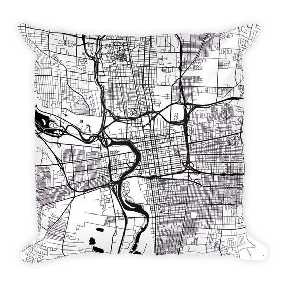 Columbus Map Pillow – Modern Map Art customized city map pillow