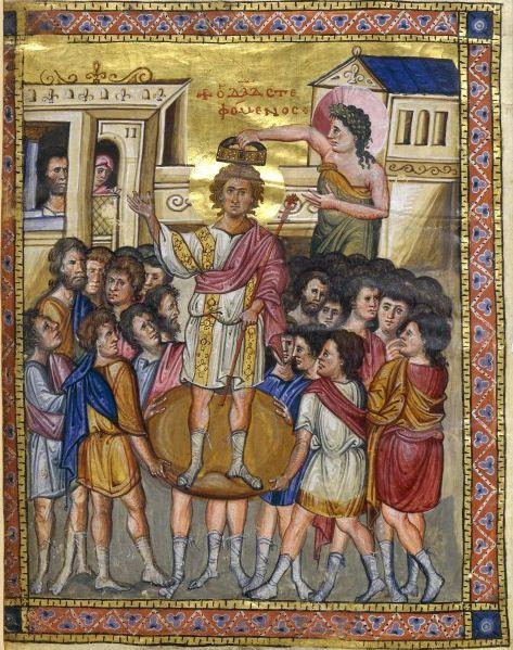 Coronación del rey David, miniatura de un salterio medieval conservado en la Biblioteca Nacional de Francia