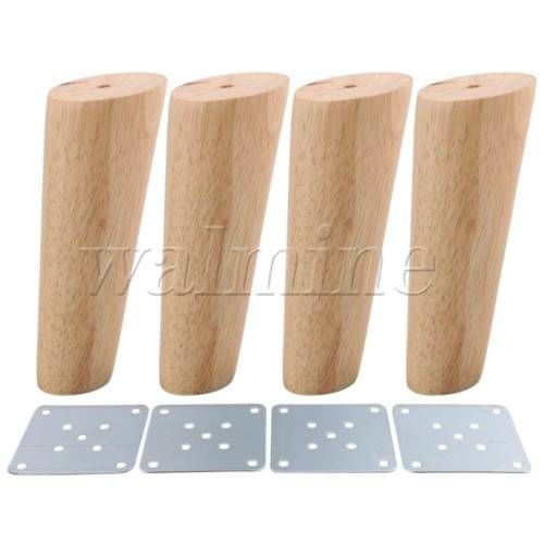 4x Wood Color Oblique Tapered Furniture Leg For Sofa Cabinet 15cm Height Furniture Legs Wood Furniture Legs Wooden Furniture Legs