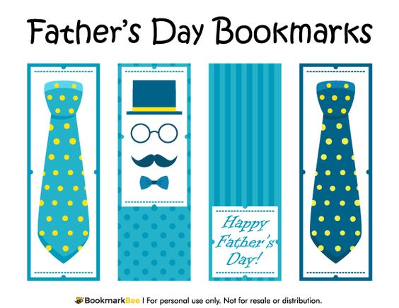 Free printable father39s day bookmarks download the pdf template at http bookmarkbeecom for Printable bookmarks pdf