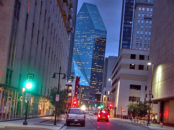 City Lights Dallas Texas Fountain Place Dusk Street Traffic Signals Buildings Skyscraper 94336 by Dallas Photographer David Kozlowski, via Flickr