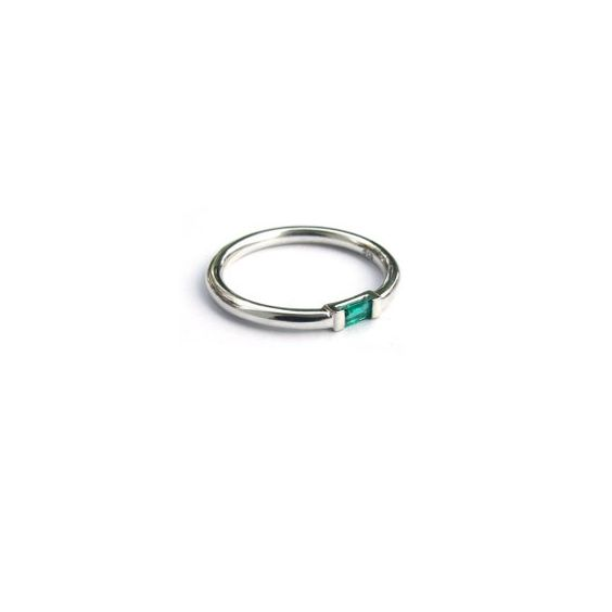 Sterling Silver and Colombian Emerald Baguette Cut Ring   Sarah Green Fine Jewellery