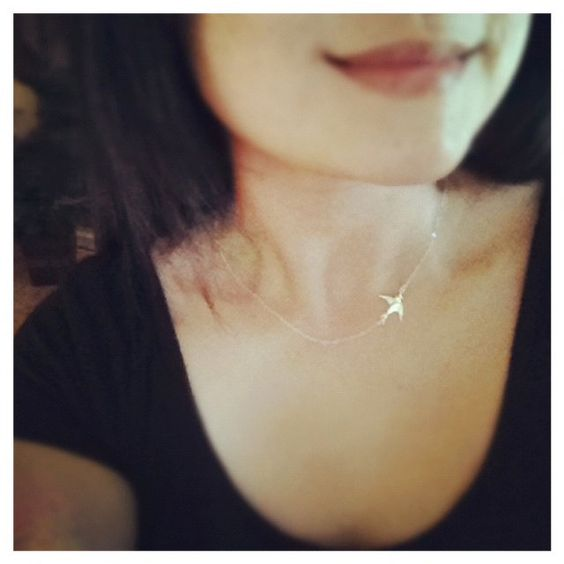 Sterling Silver Swallow Bird Necklace - All Sterling Silver - Simple, Everyday Jewelry. $23.90, via Etsy.