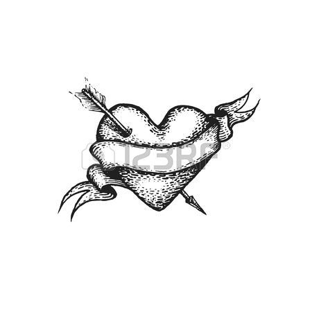 gravure: vector black work tattoo dot art hand drawn engraving style valentines heart and arrow illustration empty ribbon isolated white background Illustration