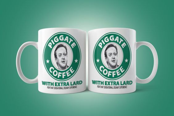 Piggate Coffee Mug David Cameron UK Prime Minister by VictorCotton
