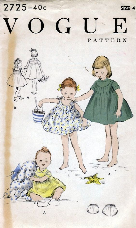 1955 Girls' One Piece Dress or Sun Dress and Pantie  by HelaQ