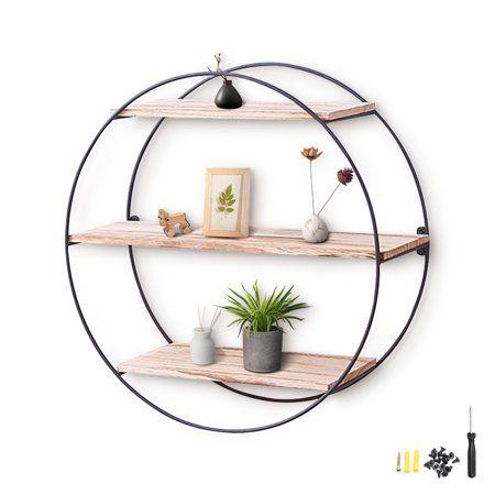 Round Wood Floating Shelves 3 Tier, Round Wall Shelf Decor Ideas