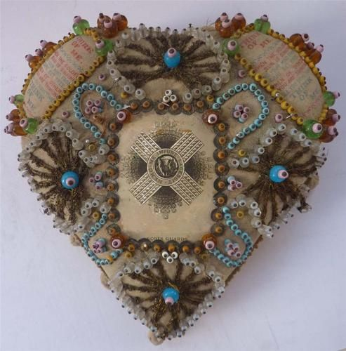 WWI Scotts Guards Sweetheart Pin Cushion with Glass Beads and pompom trim around the edge: