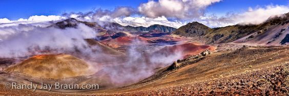 Haleakala Crater, in Haleakala National Park. The scene changes minute by minute in the crater -- from desert inferno to snow-showers to the perfect day... Hikers must be prepared for anything!