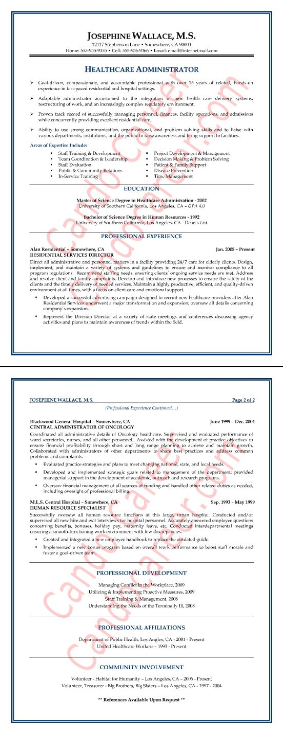 healthcare administrator resume sample resume tips