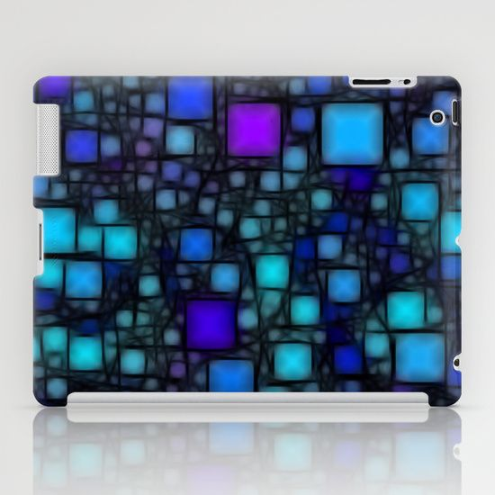 Post It Blue Glow iPad Case - $60.00 #ipadcase #blue #squares #black #abstract #pattern #glow #funky