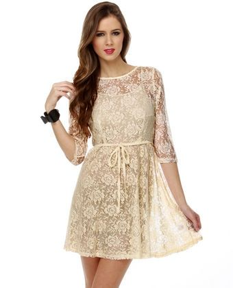 Ivory Beige Lace Dress | Wear | Pinterest | Lace, Beige lace ...